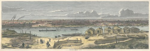 WARSZAWA. Panorama miasta od str. Wisły, ryt. Louis Dumont, 1861; drzew. szt