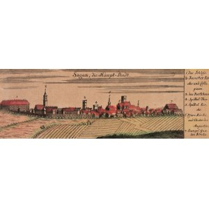 ŻAGAŃ. Panorama miasta, ryt. i wyd. Johann David Schleuen, Berlin 1741