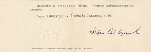WARSZAWA, RZYM. Autograf prymasa Polski, kardynała Stefana Wyszyńskiego