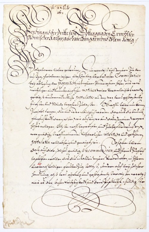 ŚWIDNICA, JAWOR, ŚLĄSK. List Ferdynanda III, cesarza rzymsko-niemieckiego (1608