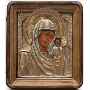 IKONA W KIOCIE, MATKA BOŻA KAZAŃSKA, Rosja, 2 poł. XIX w.
