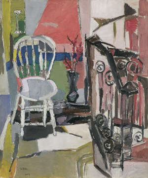 Sobel Judyta (Jehudith), WNĘTRZE Z BIAŁYM KRZESŁEM, 1958