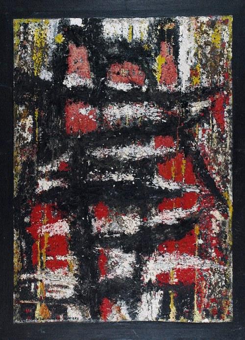 Wanda PAKLIKOWSKA - WINNICKA (1911 - 2001), Obraz czerwień-czerń, 1957