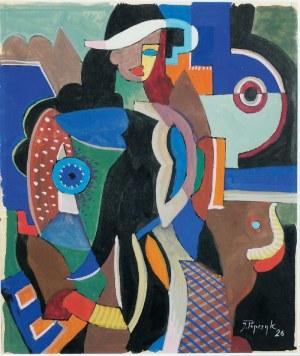 Józef POPCZYK (1890-1971), Kobieta w kapeluszu - studium kubistyczne, 1926