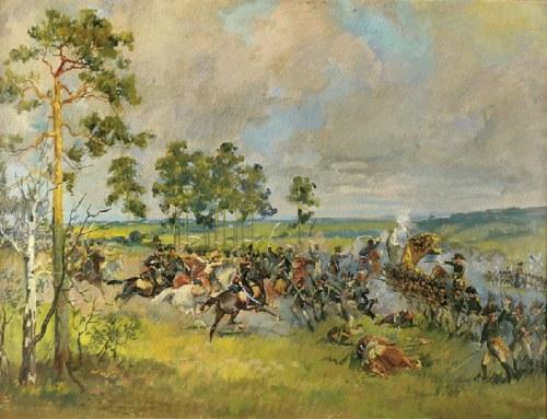 Malarz nieokreślony, z pracowni Wojciecha Kossaka, XX w., Szarża polska na wojska rosyjskie - Racławice?