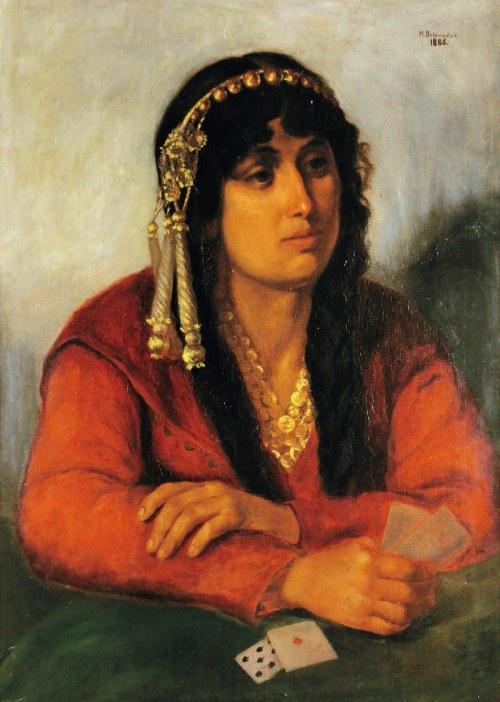 Feliks Michał  DZIEWAŃSKI (1863-1947), Cyganka wróżąca z kart