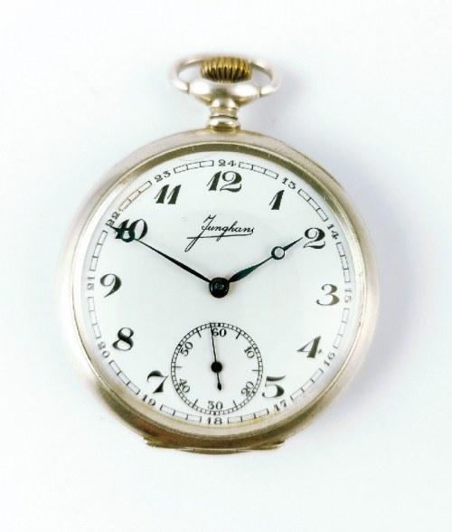 Firma JUNGHANS (czynna od 1861, logo od 1890), Zegarek kieszonkowy z herbem hrabiów Ballestrem z Gliwic