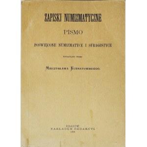 Zapiski Numizmatyczne Kurnatowskiego z 1889r, reprint