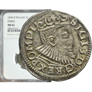 Zygmunt III Waza, Trojak 1594, Poznań, menniczy