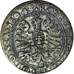 Zygmunt III Waza, Grosz 1604, Kraków, herb Lewart