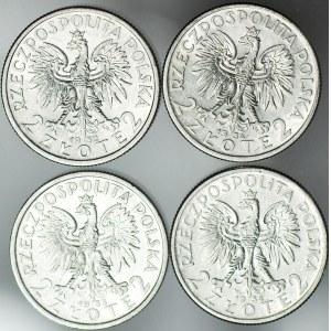 4 szt. zestaw monet II RP, 2 zł 1932,33,34 Głowa