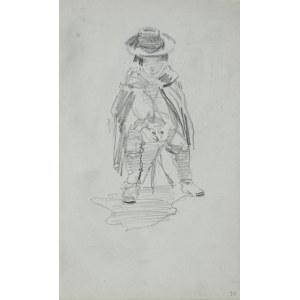 Stanisław Kaczor Batowski (1866-1945), Siedzące na stołu chłopiec okryty peleryną z kapeluszem na głowie