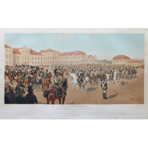 Jan Rosen (1854 Warszawa-1936 tamże), Przegląd Kawaleryi przed Wielkim Księciem Konstantym na Placu Saskim w Warszawie, 1889 r.