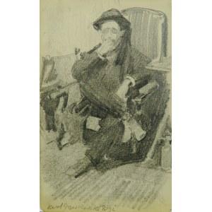 Józef Mehoffer (1869-1946), Portret mężczyzny z założonymi nogami, siedzącego na krześle