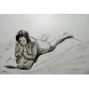 Wojciech Weiss (1875 - 1950), Kobieta leżąca zajęta lekturą