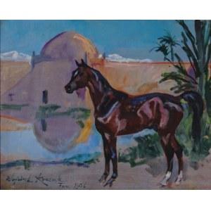 Wojciech Kossak (1856-1942), Koń na tle miasta Fez, 1936