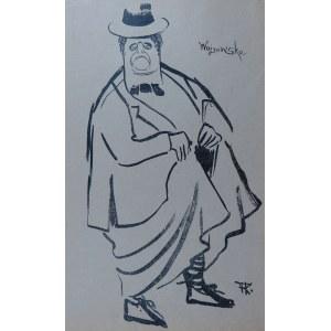 """Karol Frycz (1877-1963), Paulina Wojnowska; z """"Teki Melpomeny. Autolitografie (Karykatury artystów w rolach)"""", Kraków 1904"""