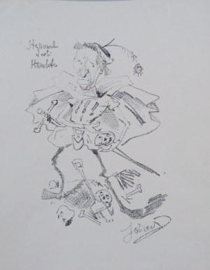 """Sobiesław [Włodzimierz Bystrzyński], Leon Stępowski w roli Hamleta; z """"Teki Melpomeny. Autolitografie (Karykatury artystów w rolach)"""", Kraków 1904"""