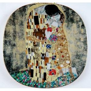 """Talerz Z Serii Dzieł Gustava Klimta - Phantastiche Meisterwerke, """"Der Kuss"""", Lilien Porzellan, Austria 1991, porcelana, złocenia, dekoracja szablonowa; 20,5 × 20,5 cm;"""