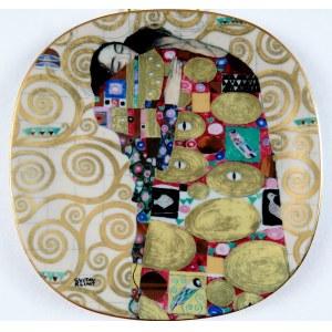 """Talerz Z Serii Dzieł Gustava Klimta - Phantastiche Meisterwerke, """"Die Efrullung"""", Lilien Porzellan, Austria 1991, porcelana, złocenia, dekoracja szablonowa; 20,5 × 20,5 cm;"""