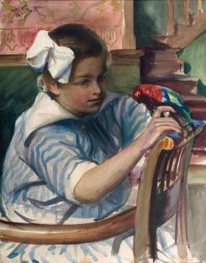 Teodor Grott (1884 Częstochowa - 1972 Kraków) - Dziewczyna z papugą