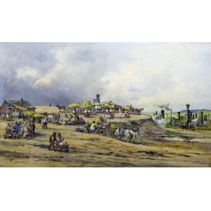 Tadeusz Rybkowski (ur. 1848, Kielce, zm. 1926, Lwów), Targ na Górce w Borysławiu, 1908
