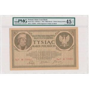 1.000 marek 1919 - 2 x Ser.C - PMG 45 EPQ - rzadki w tym stanie