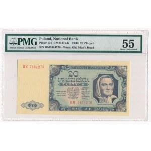 20 złotych 1948 - HM - PMG 55