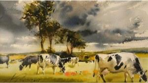 Papke Adam - Pejzaż z krowami