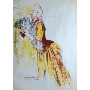 """Antoni Procajłowicz (1877-1949), Helena Arkawin; z """"Teki Melpomeny. Autolitografie (Karykatury artystów w rolach)"""", Kraków 1904"""