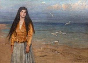 Antoni Piotrowski (1853 Nietulisko Duże - 1924 Warszawa), Dziewczyna na tle morza, 1917 r.