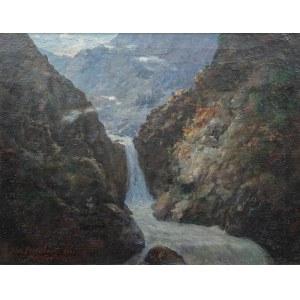 Aleksander Mroczkowski (1850 Kraków - 1927 Stubno k. Przemyśla), Wodospad w Roztoce, 1922 r.