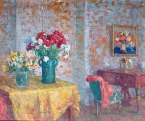 Zofia Albinowska-Minkiewiczowa (1886 Klagenfurt - 1971 Lwów), Martwa natura/ We wnętrzu (obraz dwustronny)