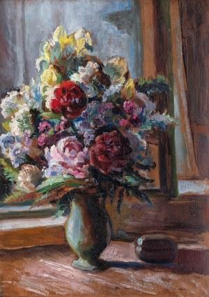 Mieczysław Filipkiewicz (1891 Kraków -1951), Kwiaty w oknie