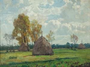 Otto Paul Bredow (1874 Berlin - ok.1930), Pejzaż ze stogami siana