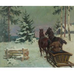 Leszek Piasecki (1928 Lwów - 1990 Wiedeń), Sanie zimą