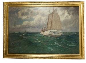 Leopold Schönchen (1855 Augsburg - 1935 Monachium), Żaglowce na morzu