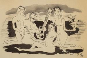 Otto Axer (1906 Przemyśl-1983 Warszawa), Muzykowanie na plaży, 1973 r.