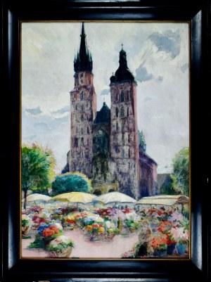 Jan Rubczak (1884-1942), Targ kwiatów na Rynku Krakowskim, ok. 1934