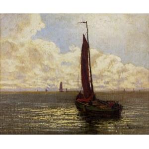 Ernst Lorenz - Murowana (1872-1950), Pejzaż morski z łodziami rybackimi