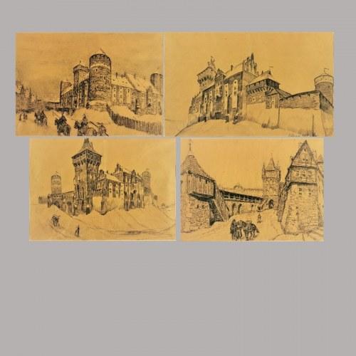 Ryszard PRAUSS (1902-1955), Imaginacje na temat średniowiecznej architektury - cztery rysunki