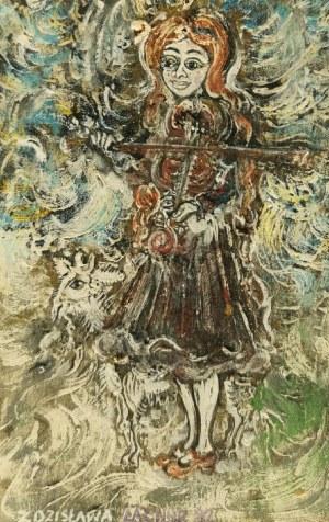 Zdzisława LACHUR (XX w.), Małe skrzypaczki - para obrazów, 1982