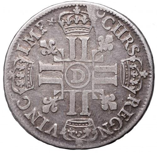 France, Louis XIV, 1/2 ecu 1690, Lyon