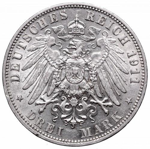 Germany, Saxony, 3 mark 1911 E