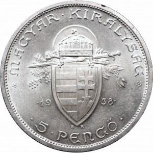 Hungary, 5 pengo 1938