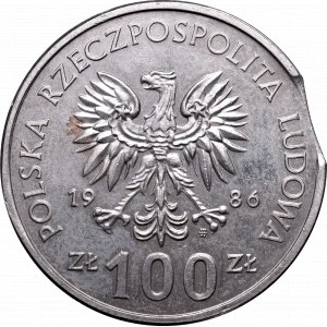 Peoples Republic of Poland, 100 zloty 1986 mint error