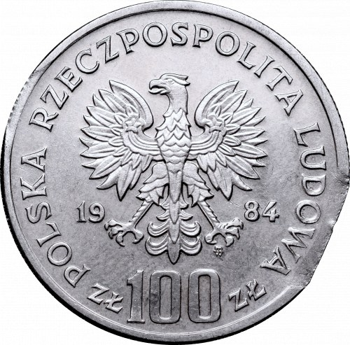 Peoples Republic of Poland, 100 zloty 1984 mint error