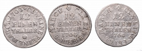 Germany, Saxony, Friedrich August II and III, Lot of 1/12 thaler 1763-1764