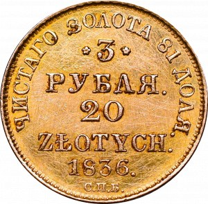 Poland under Russia, 3 rouble=20 zloty 1836