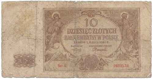 GG, 10 złotych 1940 - OBÓZ KOBIET